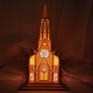 Christmas Church Stained Glass Light Up Music Box